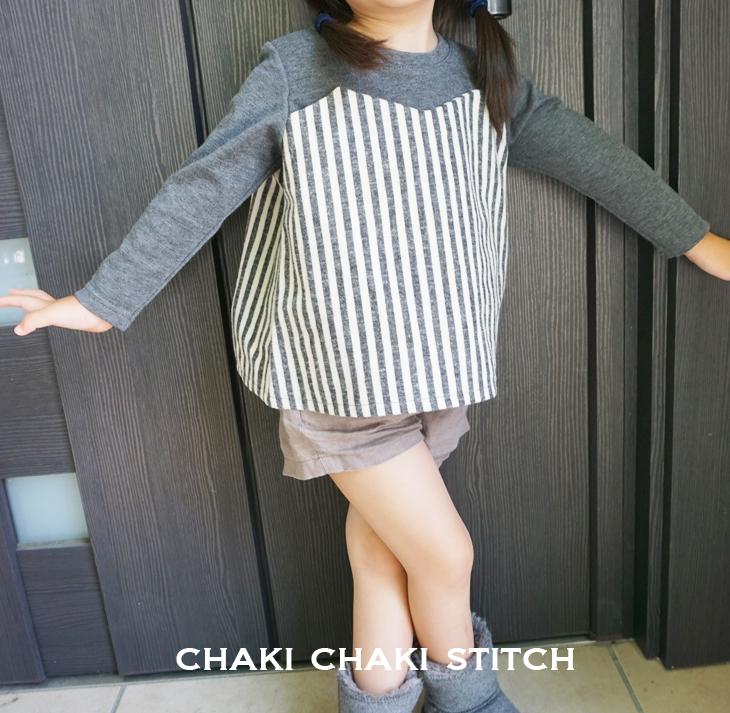 ハンドメイド子供服 布帛キャミソールと重ね着風Tシャツの子供服型紙