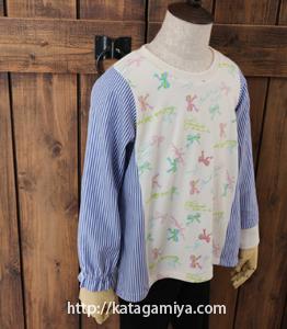 布帛使いゴムギャザー長袖・リブつき袖プル ハンドメイド子供服型紙