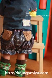 子供服かぼちゃパンツ型紙の着画