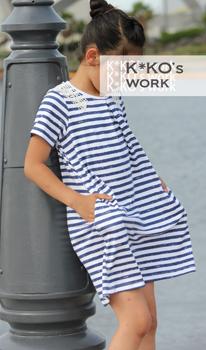 子供服普段着型紙タックトレーナーカットソーのパフスリーブ・半袖・脇ポケット型紙と作り方
