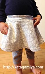 作り方簡単なフレアースカート付きスパッツ型紙