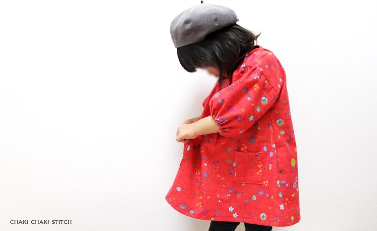 衿付きドロップパフスリーブワンピースは生地によって意目地を変えられるので、幼稚園スモッグや日常着も作れる型紙です。