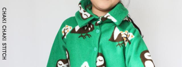 子供コート型紙衿フードの首元