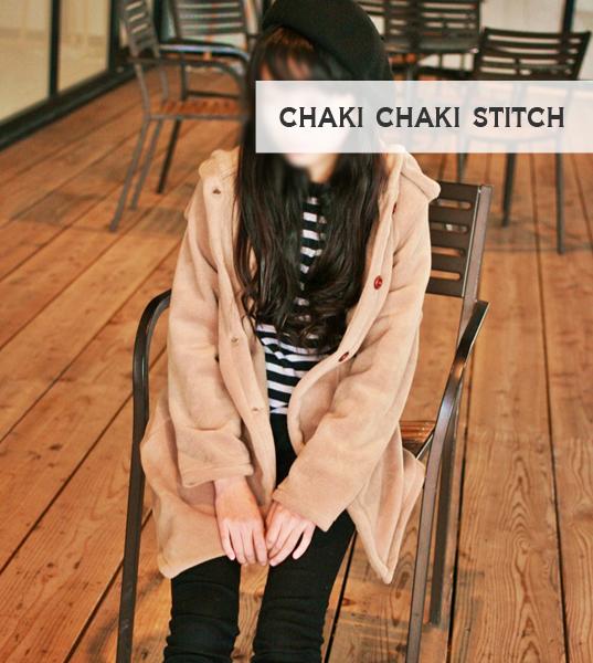 子供コート型紙高学年・中学生女子衿付きフード座りイメージ