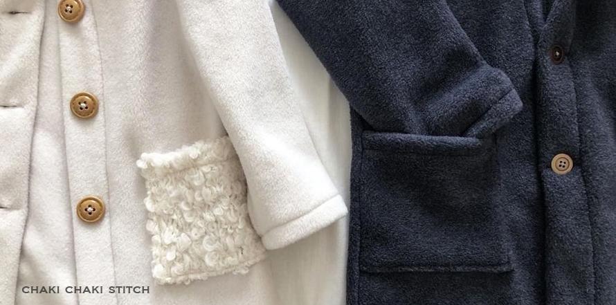 子供コート型紙高学年・中学生女子衿付きフード