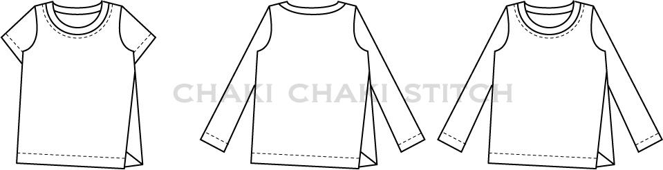 子供とおそろいメンズねじれTシャツ型紙販売・長袖・半袖